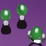 Комплект ювелирных украшений из жадеита и алмазов