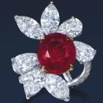 Кольцо с рубином и алмазами